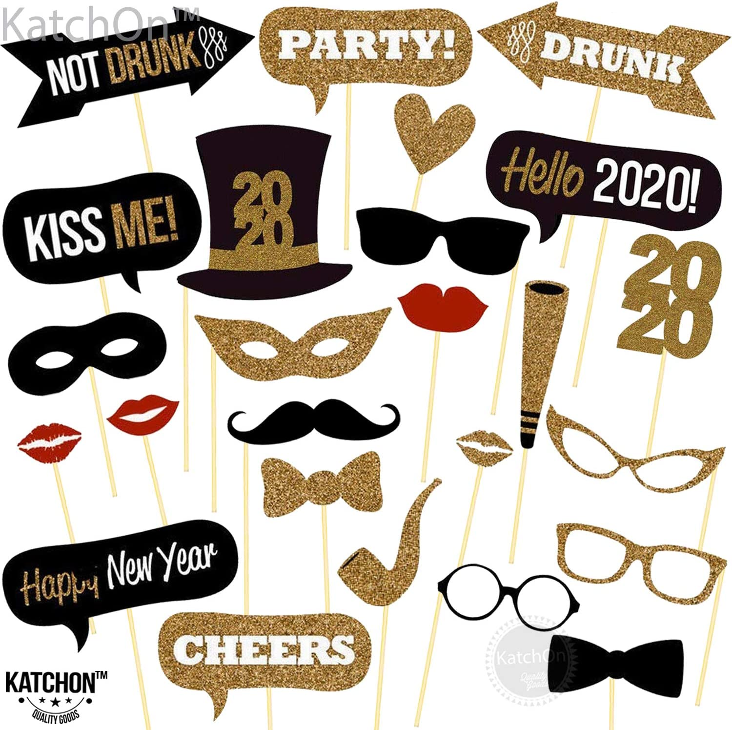 Pack of 25 Sturdy Cardstock Great for Masquerade Themed New Year/'s Party Backdrop Home Office D/écor Accessories 2019 New Years Eve Photo Props Decorations Supplies New Years Photo Booth Props