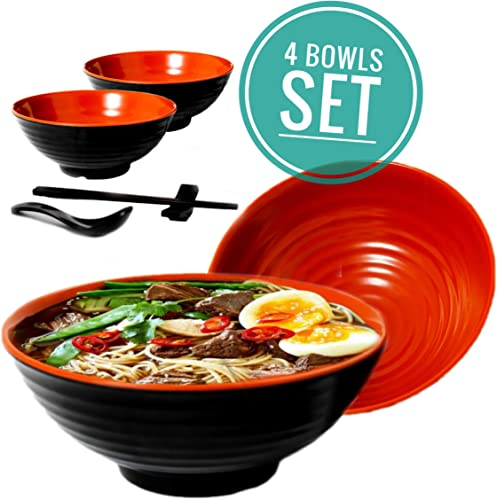 Vallenwood Noodle Bowl Melamine Large Ramen Bowls Set