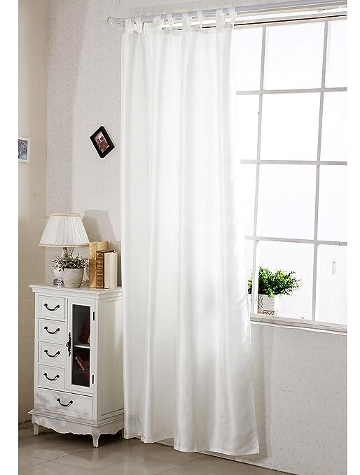 Woltu Vh5484 Gardine Vorhang Dekoschal Schlaufenschal Halb Blickdicht Und Transparent Super Design 245x140 Cm Creme