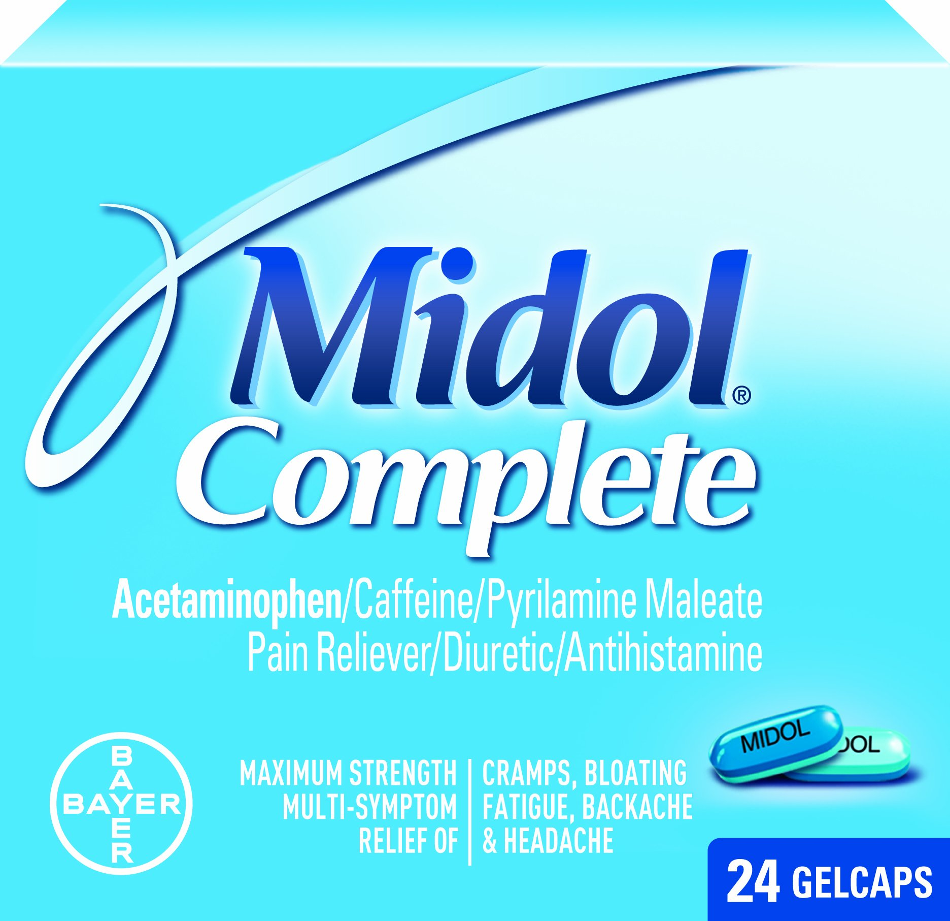 Midol Complete Gelcaps, 24-Count Boxes (Pack of 4)