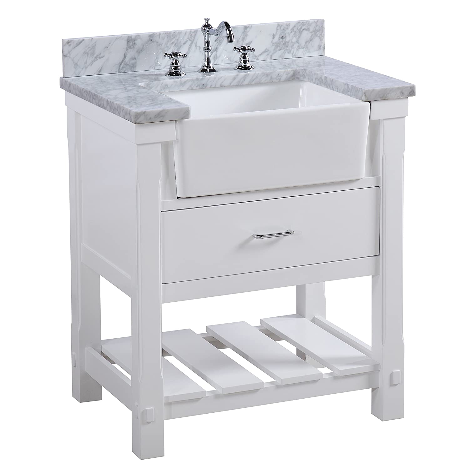 "30"" vanity with farm sink and marble top has a functional drawer for storage and a rustic shelf - modern farmhouse style lovers and vintage fans will love!"