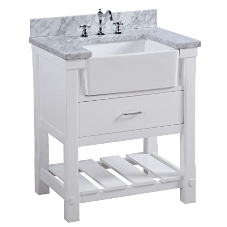 Charlotte 30 Inch Bathroom Vanity Carrara White Includes A Carrara Marble Countertop White Cabinet With Soft Close Drawers And White Ceramic