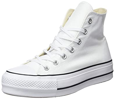 2829c549937ba5 Converse Womens Chuck Taylor All Star Lift Hi White Black Canvas Trainers  36.5 EU