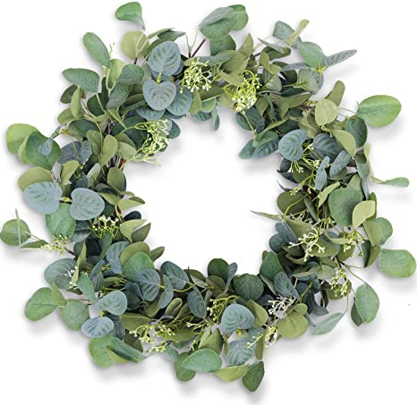 Tiny Land 20 Inch Green Eucalyptus Wreath for Door /& Celebration Ideal Spring /& Summer Decorating for Indoor /& Outdoor Use Handcraft Boxwood Frame with Versatile Silk Leaves