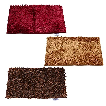 Cloth Fusion Premium Quality 3 Piece Shaggy Door Mat Set