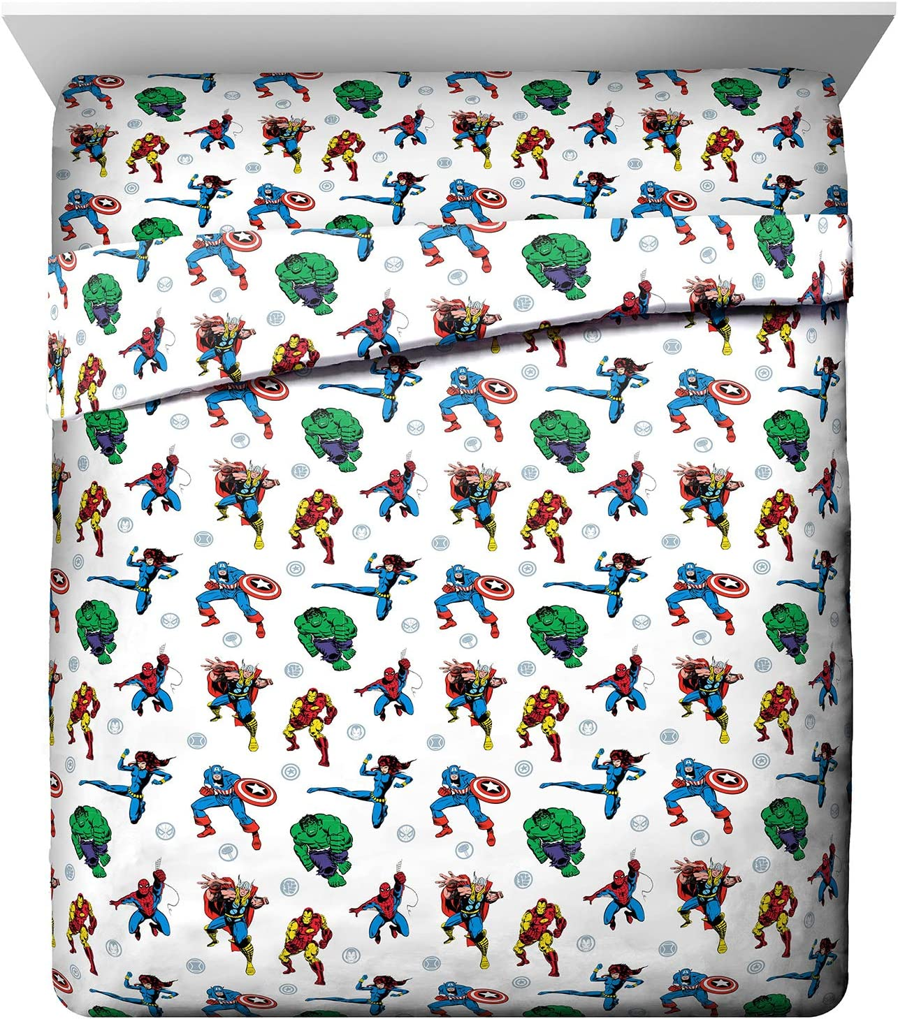 Marvel Avengers Fighting Team Queen Sheet Set - 4 Piece Set Super Soft and Cozy Kid's Bedding - Fade Resistant Microfiber Sheets (Official Marvel Product)