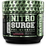 NITROSURGE Pre Workout Supplement - Endless Energy, More Strength, Sharp Focus, Intense Pumps - Nitric Oxide Booster & Preworkout Energy Powder - 30 Serving, Watermelon (9.5 oz) (Watermelon)