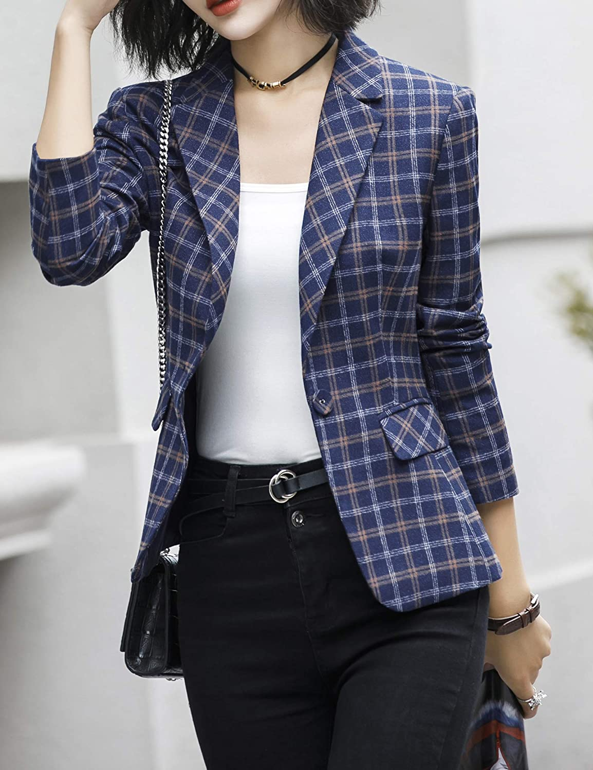 Long Sleeves Jacket Suit Top One Button Office Cardigan Casual Plaid Blazers ZingineW Womens Blazer 3//4