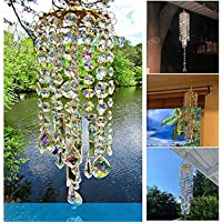 Colorful Crystal Wind Chimes, Wind Chime for Outside, Crystal Clear Chandelier Wind Chimes, Handmade Ornament Decoration…