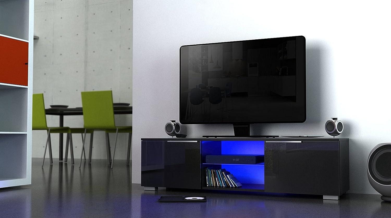 Berlioz Creations Studio Meuble TV avec LED Panneaux de Particules Noir 140 x 40 x 37 cm