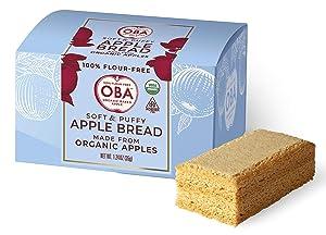 OBA - Soft & Puffy Apple Bread, Organic Apple Bread, Organic Gluten Free Sandwich Bread, Flour Free, High Fiber Low Sodium, (4Pack)