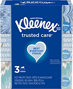 Kleenex Trusted Care Everyday Facial Tissues, 3 Rectangular Boxes, 144 Tissues per Box (432 Tissues Total)