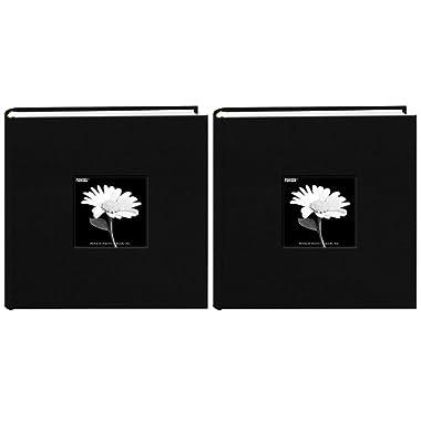Fabric Frame Cover Photo Album 200 Pockets Hold 4x6 Photos, Deep Black (2 Pack