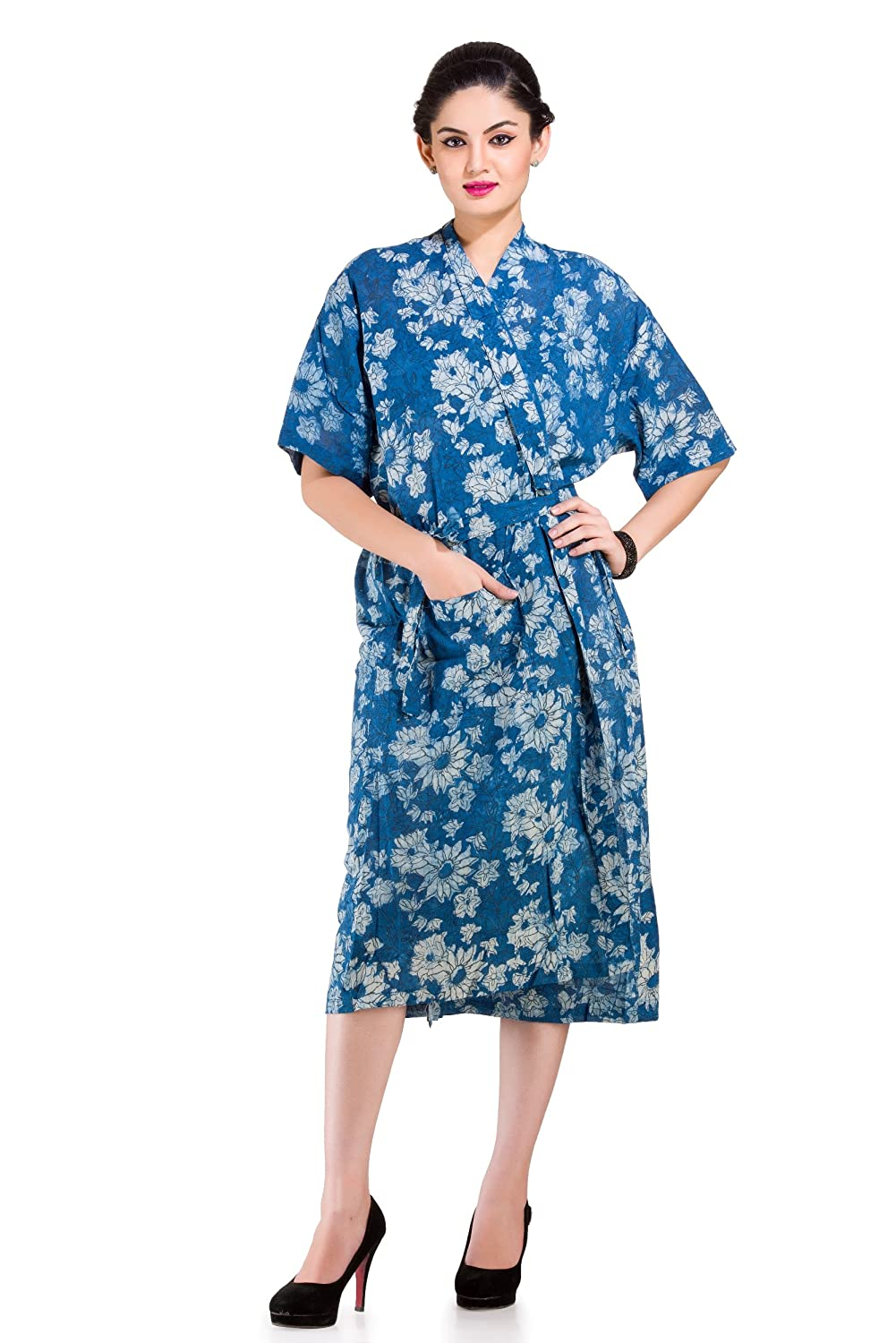 866e2afc13 Buy Handicraft-Palace Women s Cotton Floral Printed Bath Robes (Indigo  Blue) Online at Low Prices in India - Amazon.in