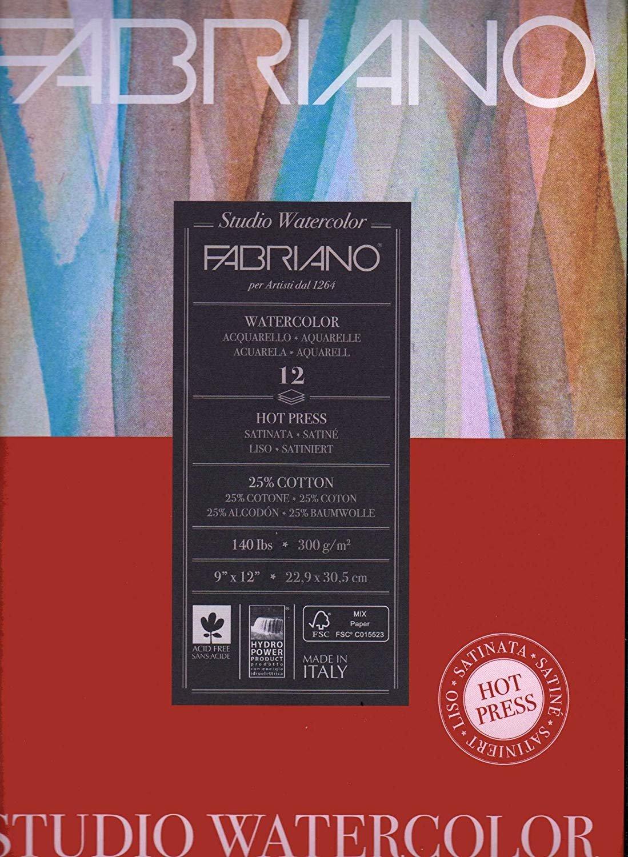 Fabriano studio Watercolore Paper Pad 9 x 12 HP, 300 g m², 63,5 kilogram (2 pezzi)