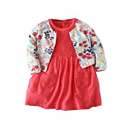 Baby Girl's Long Sleeve Floral Cardigan Lace Short Sleeve Romper Dress Skirt Casual Toddler Baby 2Pcs Girl Clothes Set Outfit(Floral+ Lace, 0-6 Months/66)