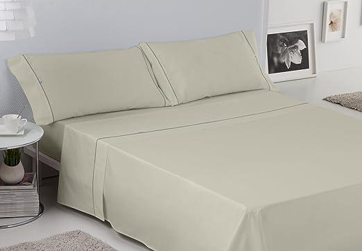 Es-Tela - Juego de sábanas liso con biés, color piedra, cama de ...