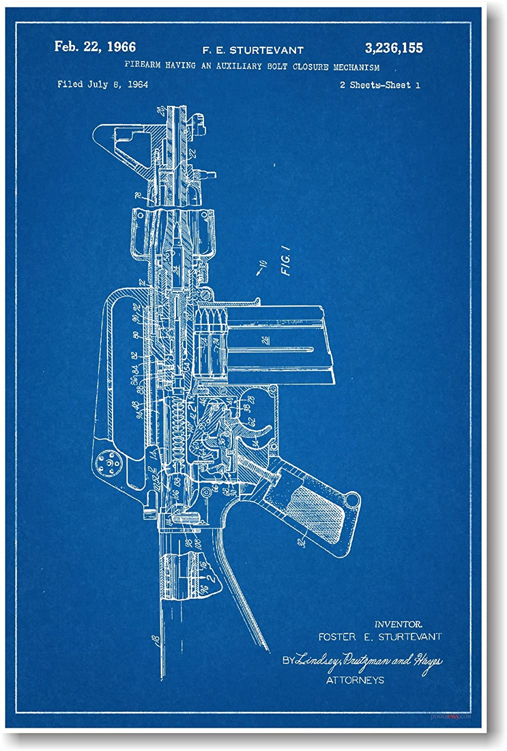 Amazon ar 15 assault rifle patent new famous invention amazon ar 15 assault rifle patent new famous invention blueprint poster office products malvernweather Gallery