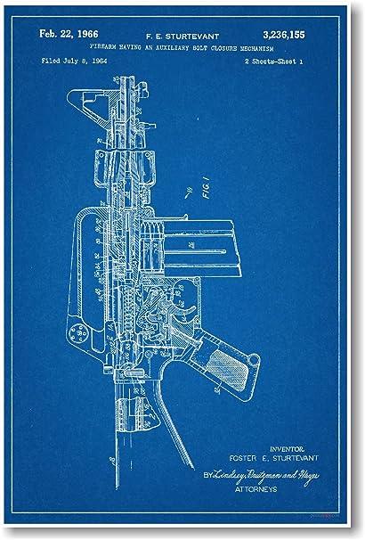 Amazon ar 15 assault rifle patent new famous invention ar 15 assault rifle patent new famous invention blueprint poster malvernweather Gallery