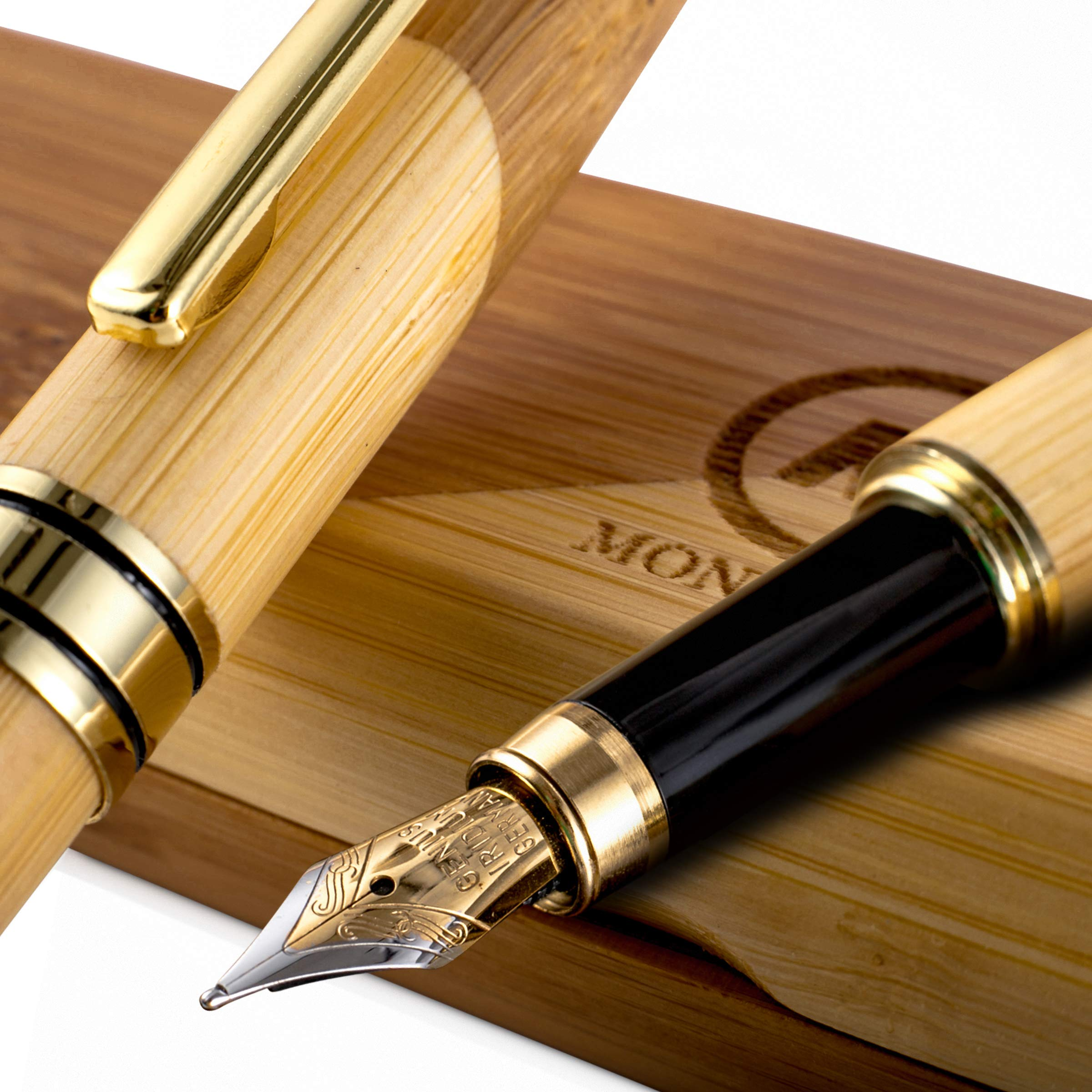 Bamboo Fountain Pen made of Luxury Wood with Refillable Converter, Beautiful Case Set and Medium Nib Point. Works Smoothly with International Disposable Cartridges. Fine Calligraphy Pens School Supply