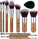 BS-MALL Makeup Brush Set 11Pcs Bamboo Synthetic Kabuki Brush Set Foundation Powder Blending Concealer Eye shadows Blush…