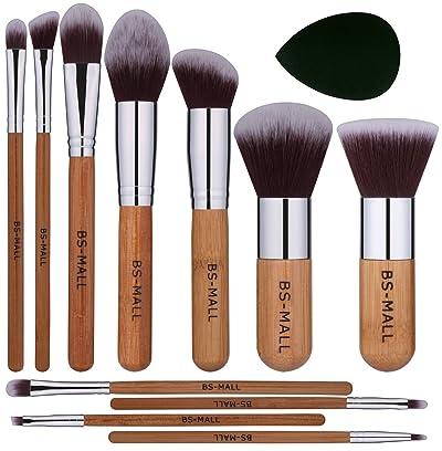 BS-MALL Makeup Brush Set 11Pcs Bamboo Synthetic Kabuki Brush Set Foundation Powder Blending Concealer Eye shadows Blush Cosmetics Brushes