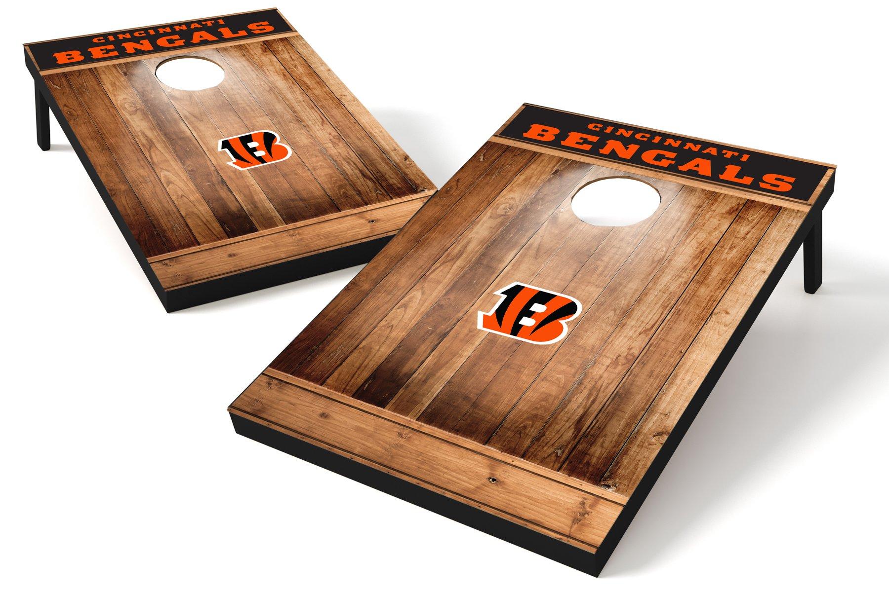 Wild Sports NFL Cincinnati Bengals 2'x3' Cornhole Set - Brown Wood Design