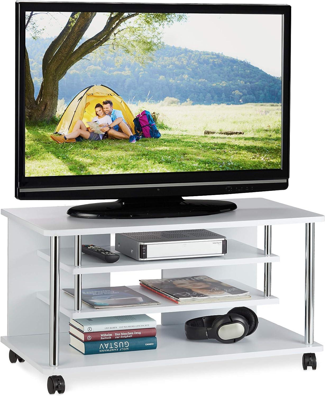Relaxdays Mueble TV Ruedas con 2 Repisas para Aparatos, Mesa Televisión, Aglomerado-Metal, 42 x 80 x 40 cm, Blanco: Amazon.es: Juguetes y juegos