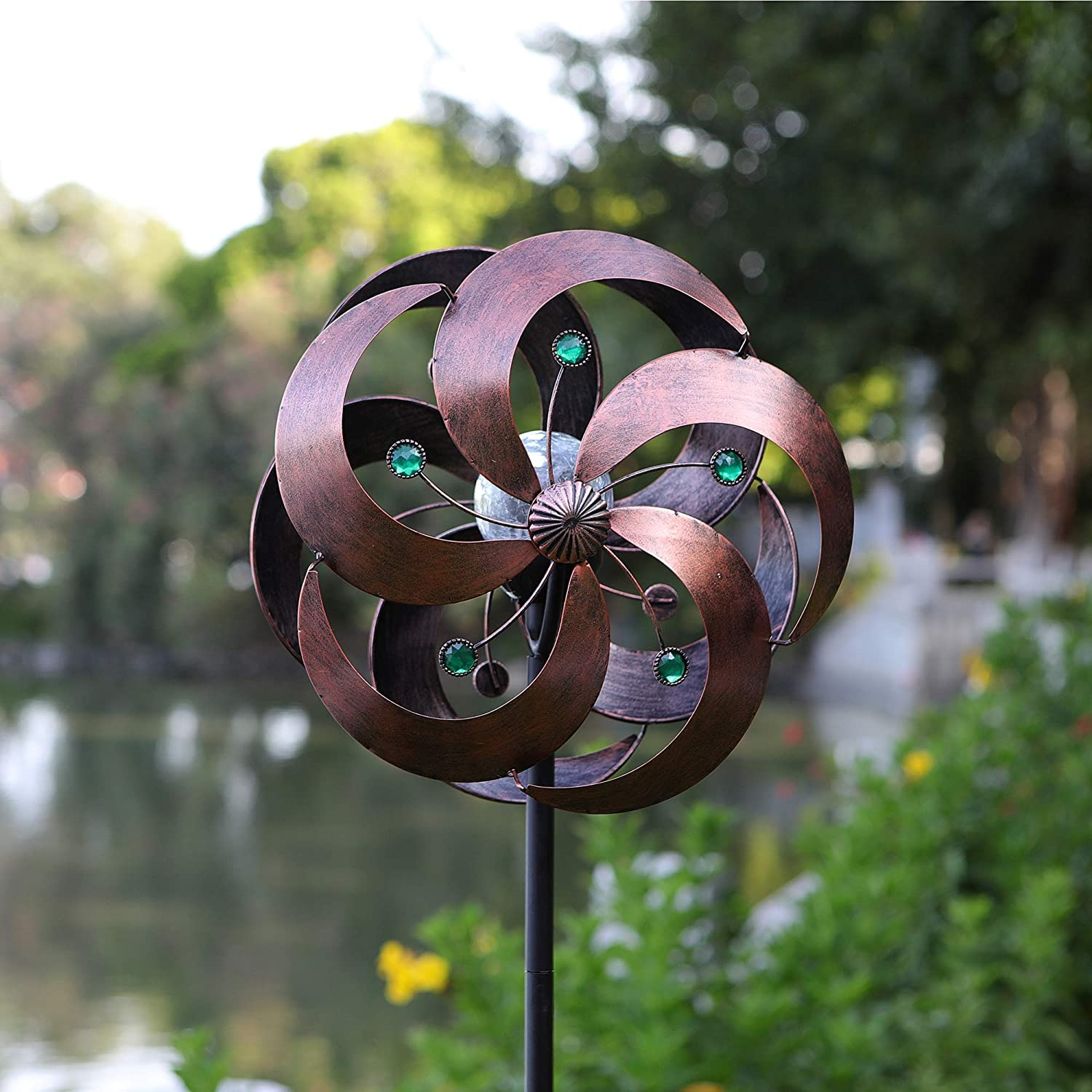 HDNICEZM Solar Wind Spinner Improved 360 Degrees Swivel Multi-Color LED Lighting Glass Ball with Kinetic Wind Spinner Vertical Metal Sculpture Stake Construction for Outdoor Yard Lawn & Garden.