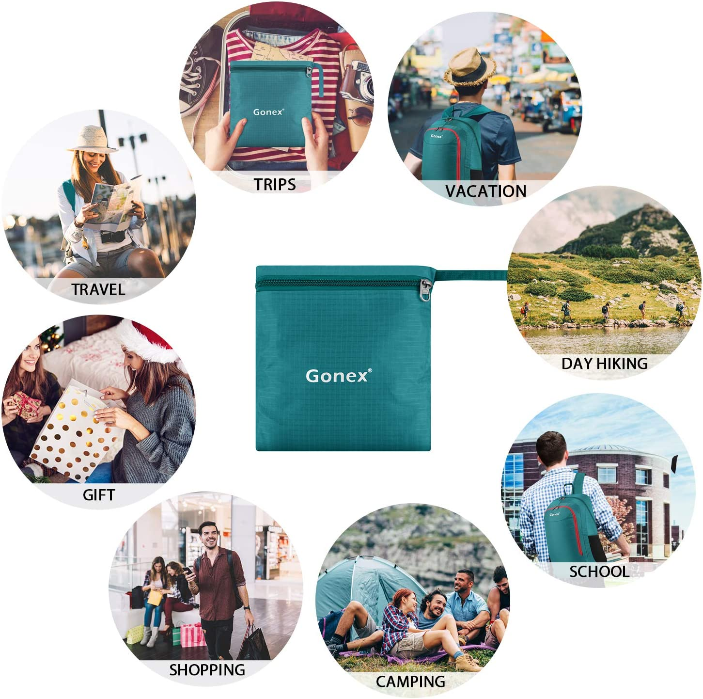 Gonex 28L Lightweight Packable Backpack Handy Travel Hiking Daypack