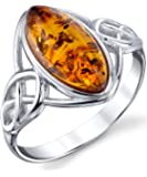 Sterling Silver Baltic Amber Celtic Design Ring with Cognac Color Marquise Shape Center Sizes 5 to 9