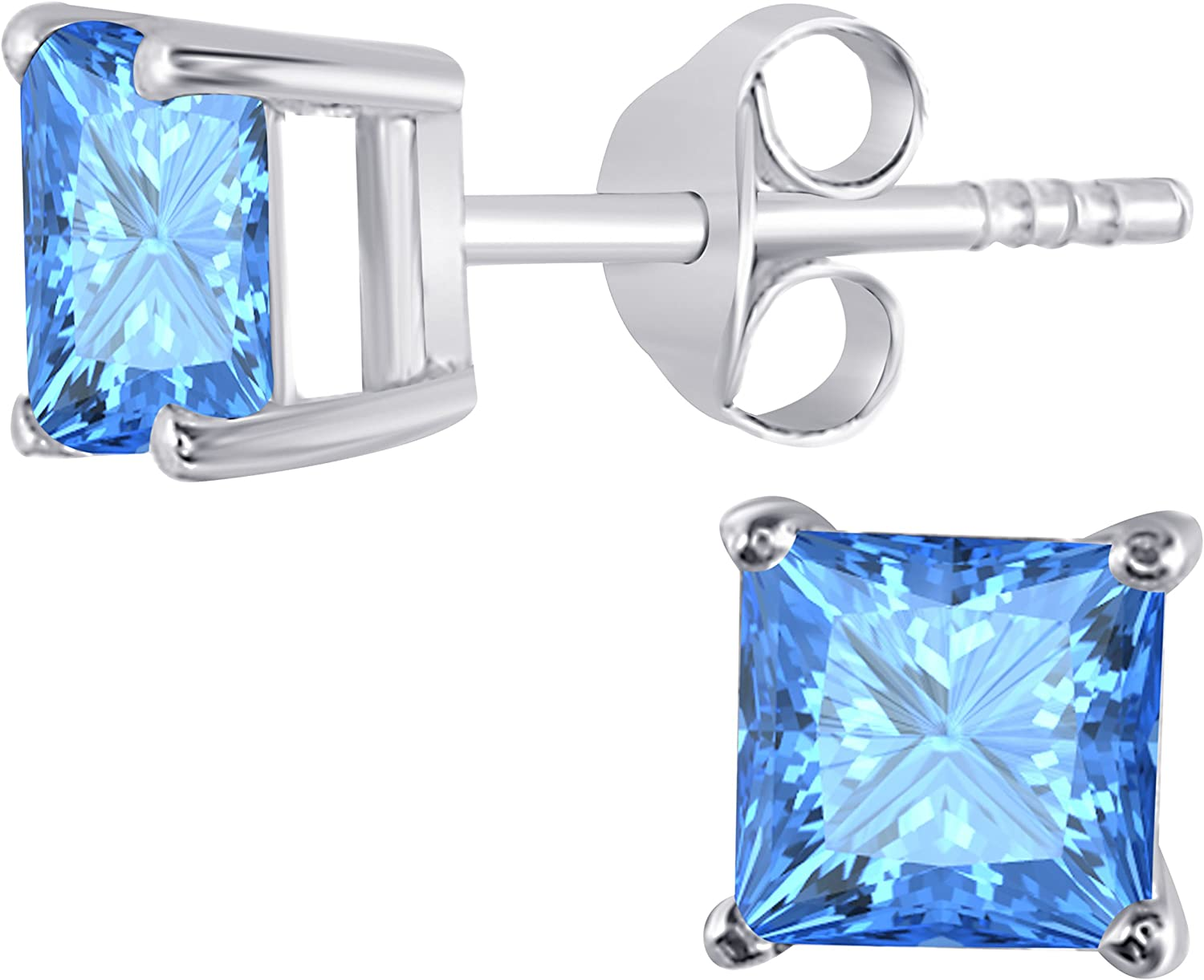 Gems and Jewels Plated Alloy Alloy 14k Yellow Gold Plated Alloy 1.00 Ct Round Cut Blue Toapz Stud Earrings For Girls and Womens
