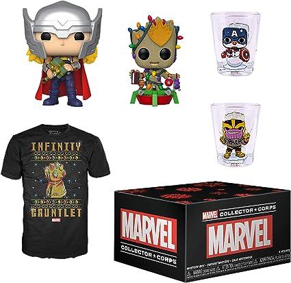 Funko Marvel Collector Corps Caja de suscripción, Marvel Holiday Theme, noviembre 2019, camiseta mediana: Amazon.es: Juguetes y juegos
