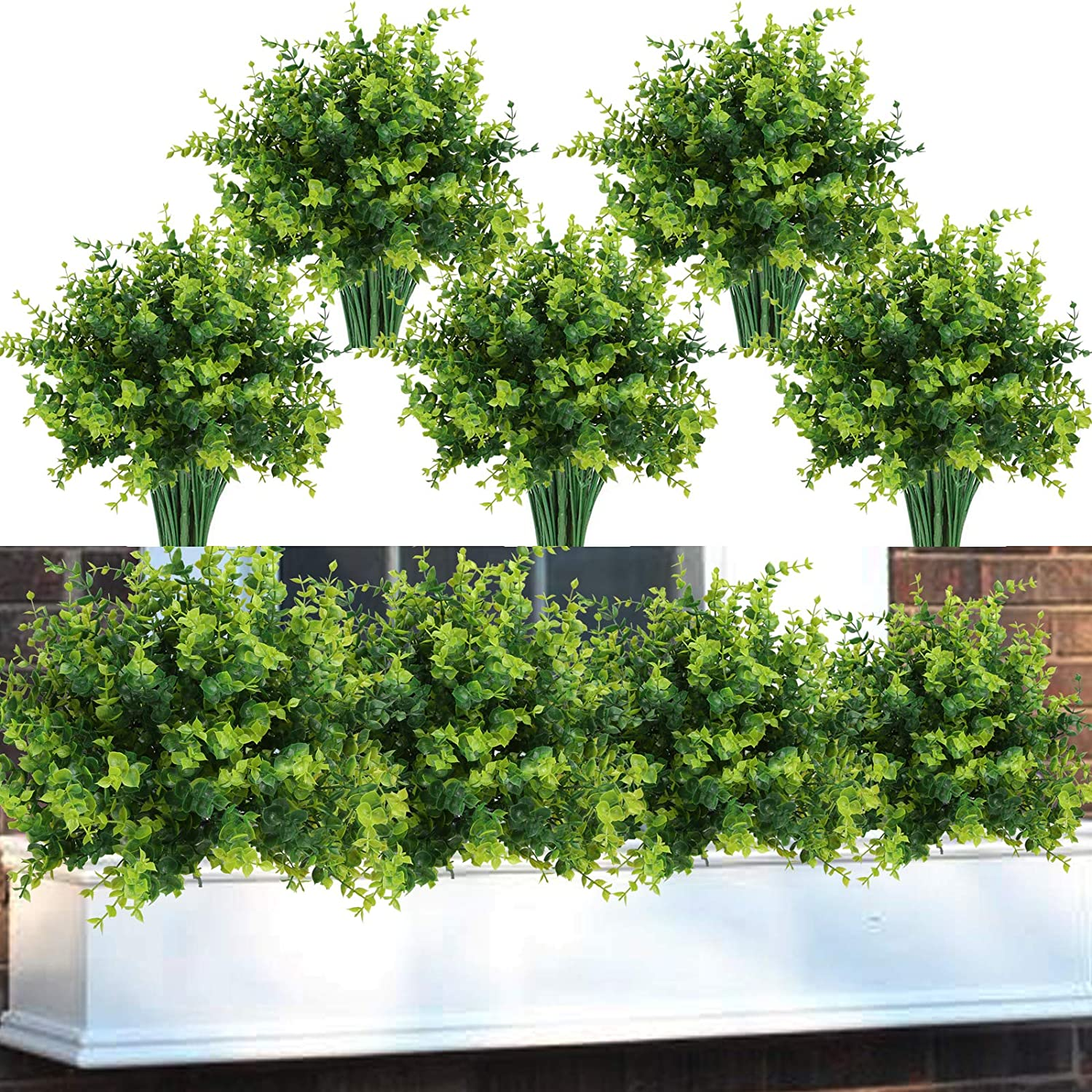 Summer Flower 9 pack Mums Artificial Boxwood Plants For Outdoors,Plastic UV Resistant Faux Flowers Stems,Fake Plants Foliage Shrubs Greenery for Garden,Office,Patio,Wedding,Farmhouse Indoor Decoration