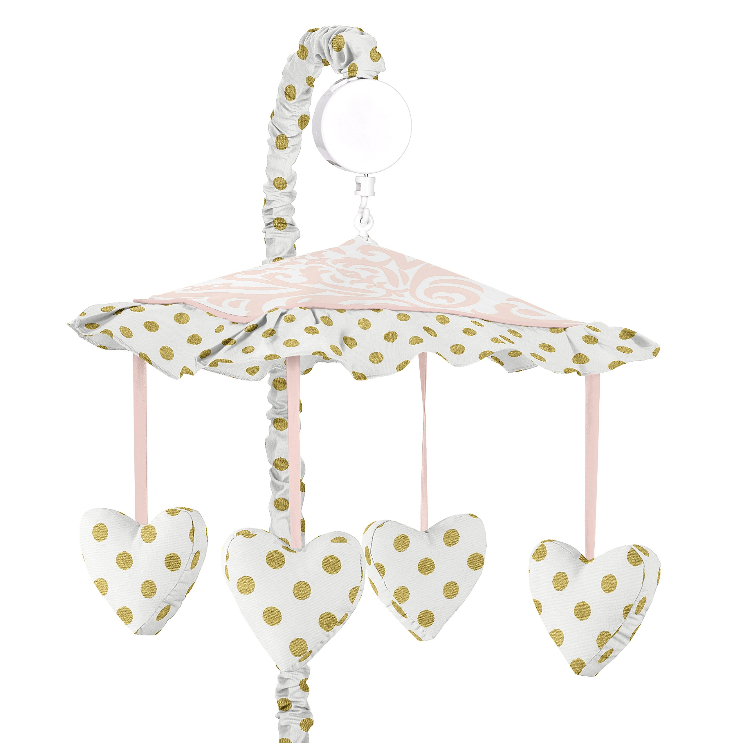 Sweet Jojo Designs Girls Musical Baby Crib Mobile for Pink White Damask and Gold Polka Dot Amelia Collection