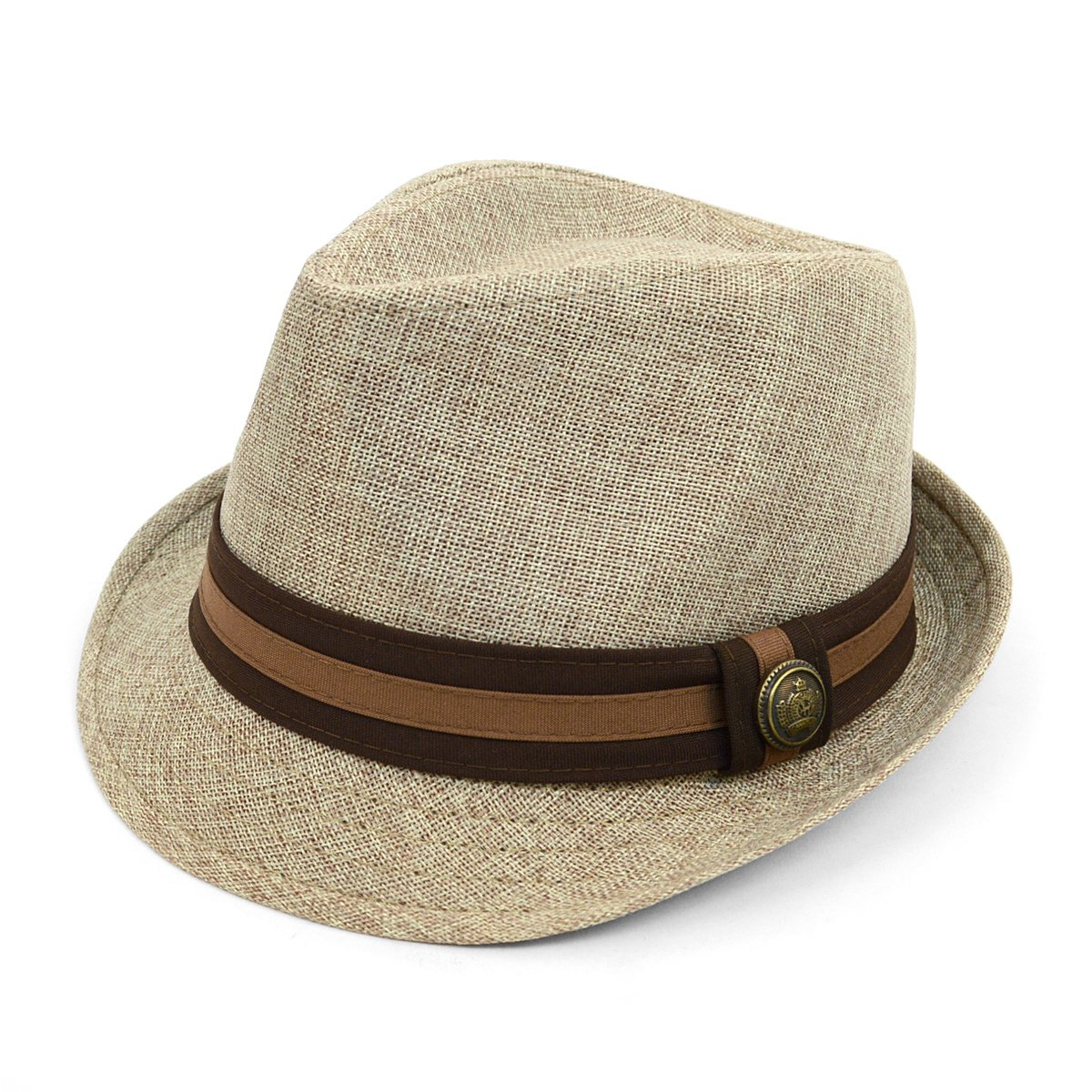 71fb9e5a79fd4 West End Linen Weave Fashion Fedora with Two-Tone Band & Button: Amazon.ca:  Clothing & Accessories