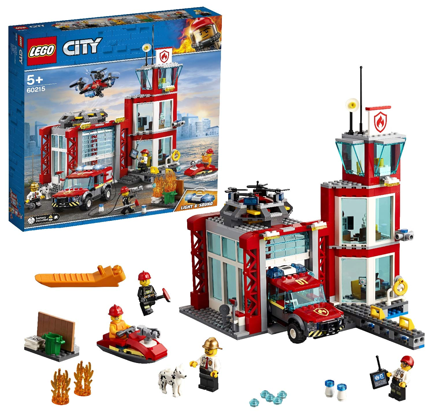 LEGO City Fire Station Building Set, Fire Toy Truck Water Scooter & Drone, Firefighter Toys for Kids by LEGO