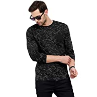 Maniac Men's Fullsleeve Round Neck All Over Printed Navy Cotton Tshirt