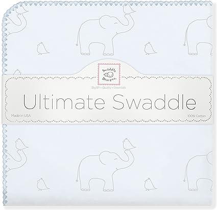 SwaddleDesigns Manta Envolvente Ultimate Elefantes plata sobre color pastel deslavado deco Franela de Algod/ón de calidad superior Azul claro