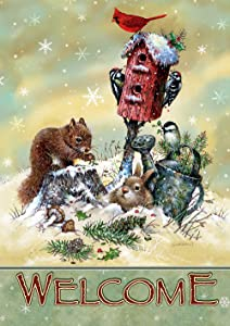 """Toland Home Garden 1012252 Welcome Winter Critters House Flag (28 x 40-Inch), (28"""" x 40""""), Multi"""