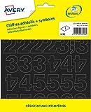 Avery Lot de 201 Chiffres Autocollants - 12,5mm - Noir (125C)