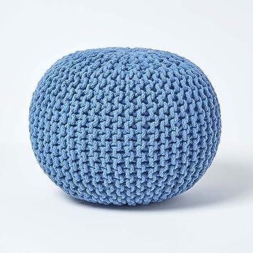 Homescapes Pouf Tricoté Bleu 100 Coton Repose Pied Rembourré Des Billes Pour Le Salon La Chambre Des Enfants Ou Pour Les Personnes âgées