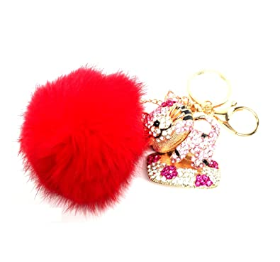 76762aa8b3 Image Unavailable. Image not available for. Color  Fashion Rhinestone Fox  Fur Cat Key Buckle Pom Pom Key Chain Bag Charm ...