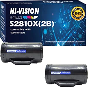 HI-Vision 2 Pack Compatible DELL S2810X High Yield (6,000 Pages, 593-BBMF) Black Toner Cartridge Replacement for H815dw / S2810dn / S2815dn Printers