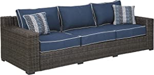 Signature Design by Ashley P783-838 Grasson Lane Sofa, Brown/Blue