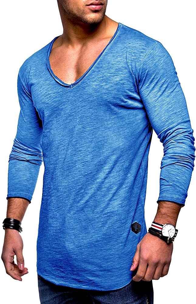 Men/'s Basic V-Neck Casual Fashion Hipster T-Shirt Longline Tee MT-7102 Behype