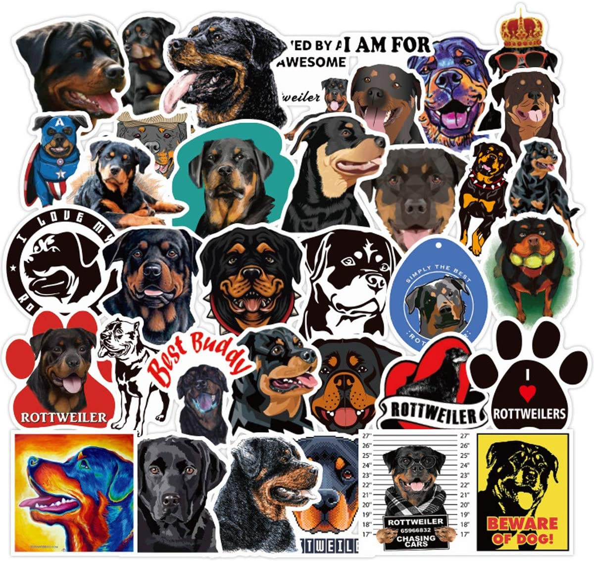 Lovely Rottweiler Stickers (50 PCS) Pet Dog Funny Stickers for Teens, Girls, Adults,Kids - Stickers for Waterbottles,Laptop,Phone,Hydro Flask - Waterproof Vinyl Sticker (Rottweiler)