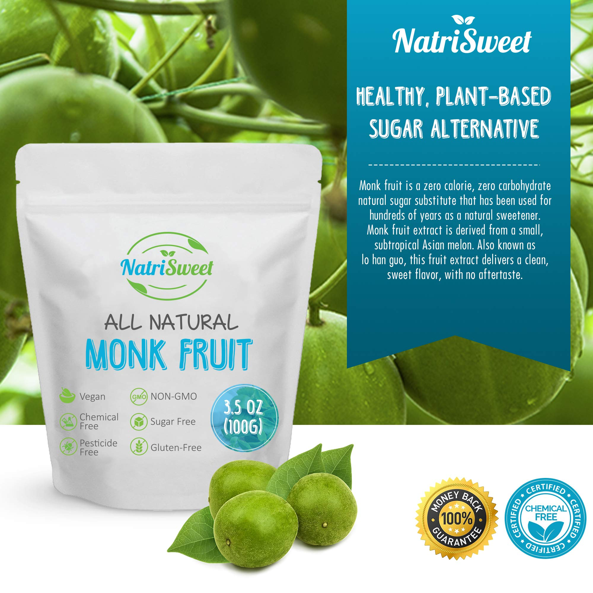 NatriSweet Monk Fruit Extract 3.5oz (100g) 322 Servings | Zero Calorie, Zero Carb, Natural Sweetener | Sugar Alternative with No Artificial Sweeteners | Perfect for Keto, Paleo & Low-Carb Dieters by NatriSweet (Image #5)