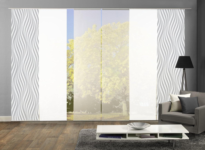 Wohnfuehlidee 6er-Set Flächenvorhang, Deko blickdicht, JENNIFER, Höhe 245 cm, 2x Dessin grau 2x uni weiß blickdicht 2x uni weiß halbtransparent