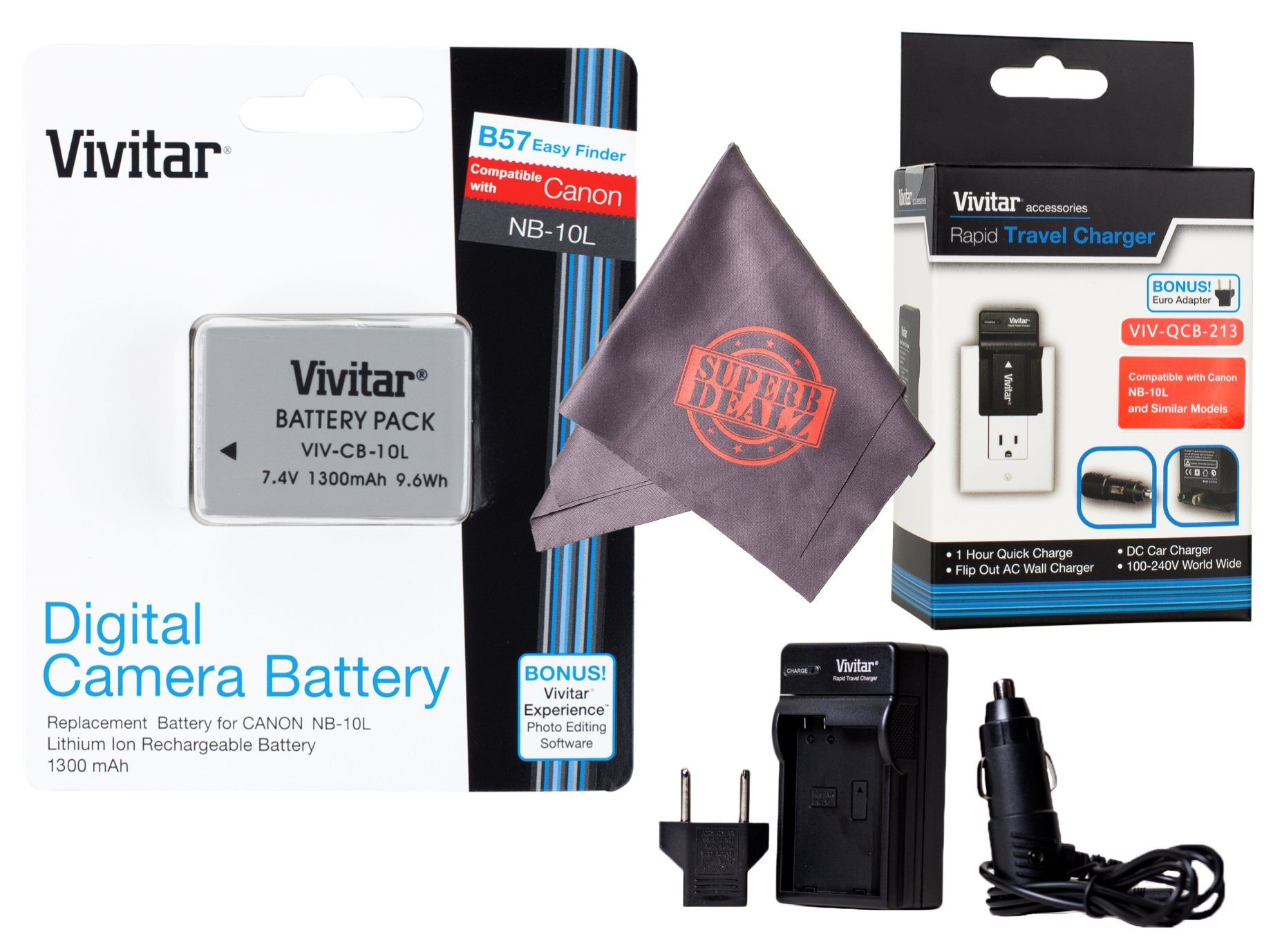 Vivitar NB-10L Ultra High Capacity Rechargeable 1300mAh Li-ion Battery + AC/DC Vivitar Rapid Travel Charger + Microfiber Lens Cleaning Cloth for CANON PowerShot (Canon NB-10L Replacement) by Vivitar